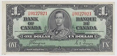 1937 Bank Of Canada One 1 Dollar Bank Note Om 9127921 Nice Bill