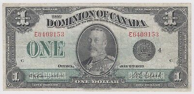 1923 Dominion Of Canada One 1 Dollar Bank Note E 6409153 Nice Bill Black Seal