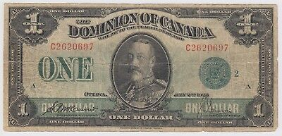 1923 Dominion Of Canada One 1 Dollar Bank Note C 2620697 Nice Bill Green Seal