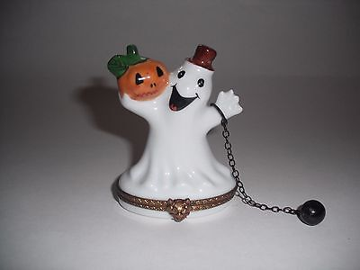 Peint Main Limoges Trinket- Halloween Ghost With Ball And Chain