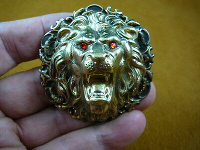 (B-LION-614)  Lion big cat red eyes roaring love Lions wild cat head pin pendant
