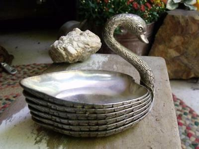 Lovely Vintage Silverplate Swan Dish Tray Holder With Small Nut Dishes For Body
