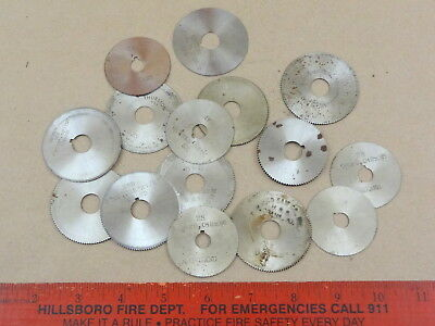 "Lot Of 15 Cutting Slitting Saw Blades 3/8"" & 1/2"" Bores Lathe Machinist Tools"