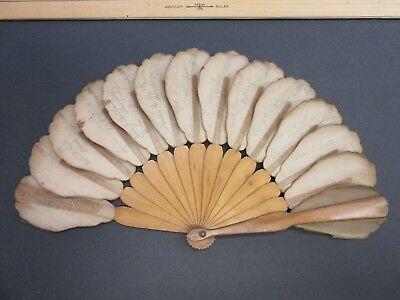 1870's~Antique~Hand Fan~Wooden~Multiple Autographs~Cloth~Brooklyn, NY~Saratoga