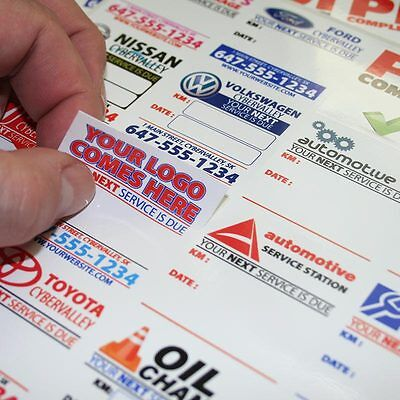 100 Fully Customized Oil Change Reminder Sticker Static Cling or Low Tack Vinyl