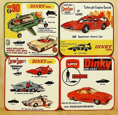 Drink Coaster Set Of 4 - Dinky Toys - Joe 90 Captain Scarlet Ufo Shado