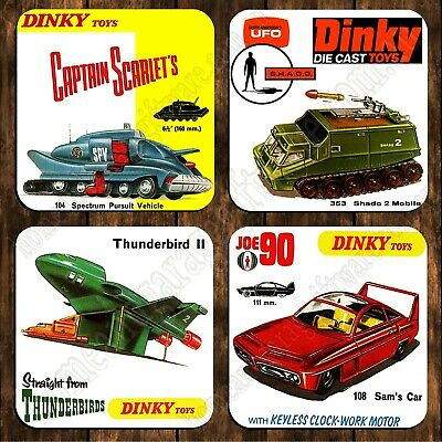 Drink Coaster Set Of 4 - Dinky Toys - Joe 90 Captain Scarlet Shado