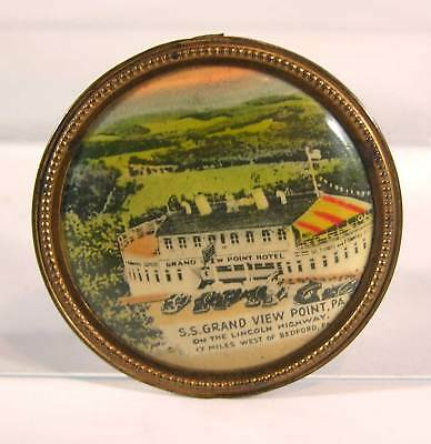 1920s CELLULOID ADVERTISING POCKET MIRROR - GRAND VIEW POINT RESORT BEDFORD PA