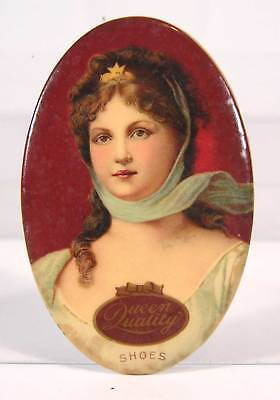 ca1910 CELLULOID ADVERTISING POCKET MIRROR - QUEEN QUALITY SHOES - PRETTY GIRL