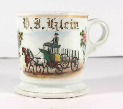 ca1900 HAND PAINTED OCCUPATIONAL SHAVING MUG WITH TEAMSTER AND HORSE DRAWN WAGON