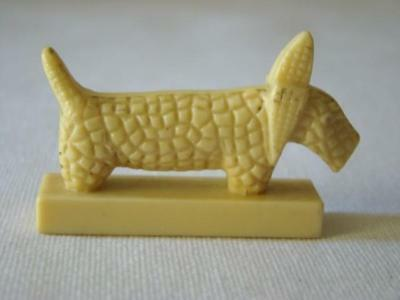 Vintage Carved Celluloid MINIATURE Whimsical Scottie Dog Figure Finial