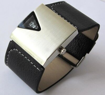 Mens Silver Designer Watch RETRO 70's 1970s VINTAGE Rotolog Style JUMP HOUR New