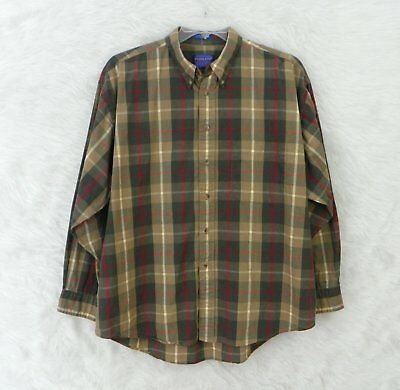 Mens PENDLETON Green Red Brown Plaid Button Front Casual Cotton Shirt Size XL