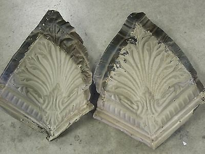 """Old Antique ( Metal ) tin ceiling tiles (2)  corners 12"""""""