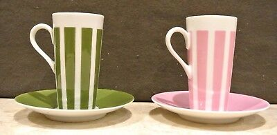 2 Vintage Fine China Pink and Green Tea Cup & Saucer Made in Japan