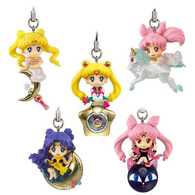5pcs Sailor Moon Pretty Guardian Sailor Chibi LUNA CAT PVC Figure Chain Pendant