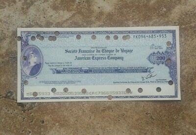 American Express 200 French Francs Cancelled Travellers Cheque Check