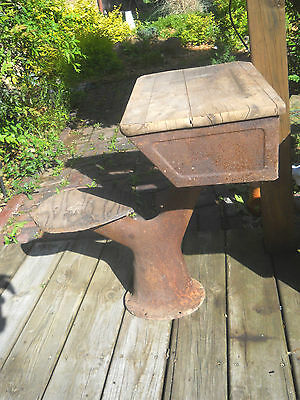 Vintage Rustic Pedestal School Desk--One Piece with Seat and Desk