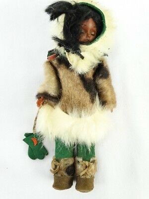 Vintage Native American Indian Plastic Doll Figure in Real Fur - Doll Sale