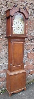 ANTIQUE Grandfather LONGCASE CLOCK 8 Day In OAK Case LANGHOLM Carruthers