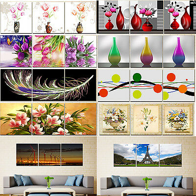 Wall Art Picture-Flower Vase Home Decor Canvas Print 3pcs Painting With/No Frame