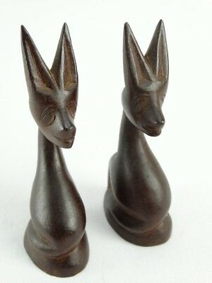 Vintage Pair of Hand Carved Quila Wood Zoomorphic Deer Figures Papua New Guinea