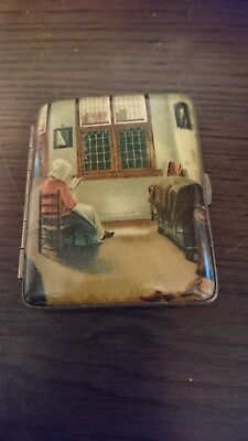 Antique Cigarette Case with Enamel Pieter Janssens Elinga Painting