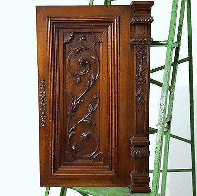 CABINET PANEL DOOR SOLID ANTIQUE FRENCH GOTHIC CARVED WOOD SALVAGED CARVING b