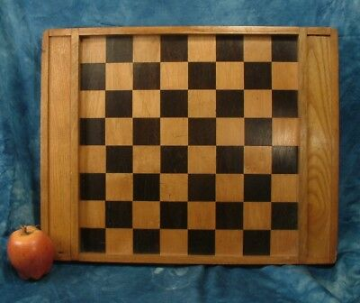 Vintage wooden inlaid chess / draughts board .
