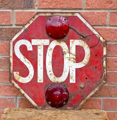 Superb Rare Old American Metal Stop Sign With Lights - Possibly Off A School Bus