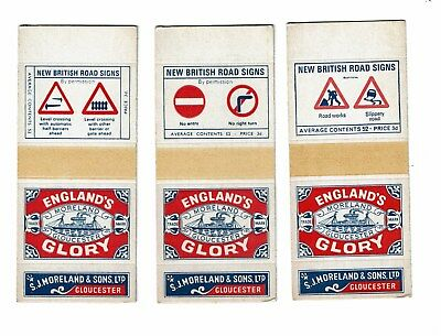 3 Old Englands Glory S.J. Morland 1900s matchbox labels Road Signs size 124x53mm