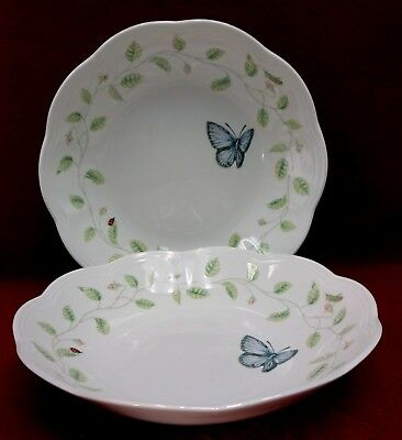 """LENOX china BUTTERFLY MEADOW pattern Set of 2 Soup or Salad Bowls - 8-5/8"""""""
