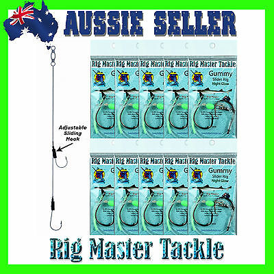 Gummy Adjustable/Slider Fishing Rigs 10-Pack 8/0 Circle Hooks Pre-Tied Rigs