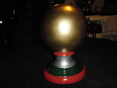Antique Wood Barber Pole--Wood Globe
