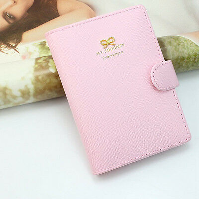 Fashion Bowknot Crown Buckles Passport Holder Protect Cover Case Organizer Pink