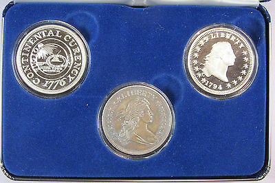"3 x 1 oz. 999 Fine Silver Rounds ""The First Three US Dollars"""