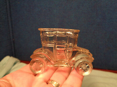 Vintage Glass Figural Candy Container  **ANTIQUE CAR**