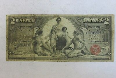 Nice 1896 EDUCATIONAL Silver Certificate $2 Two Dollar Note Currency FR 247