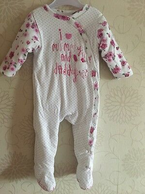 Mothercare Pink Floral Spotted All In One Romper Babygrow Playsuit 12-18m