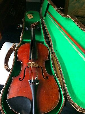 A Antique /vintage 1/4 Violin &bow In Case  For Restoration