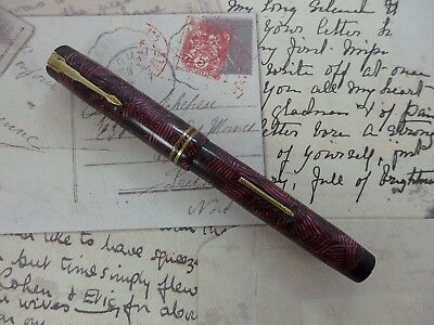 Stylo plume GOLD STARRY 33 Rouge marbré - Plume Or 18 K (fountain pen)