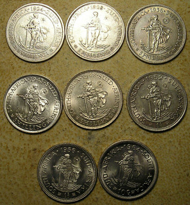 South Africa: 1923-1964 Complete Type Set of  1 Shilling / 10c *  Fine - UNC *