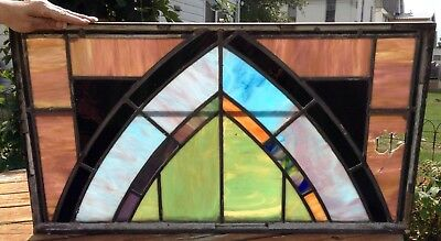 Antique leaded Slag Stained Glass Church window panel-some repair needed