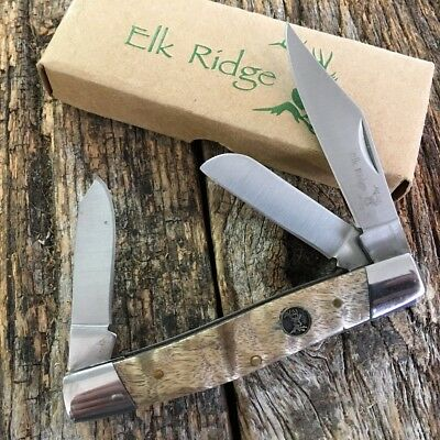 ELK RIDGE Burl Wood GENTLEMAN'S 3 Blade Folding Pocket Knife ER-043BW-SU