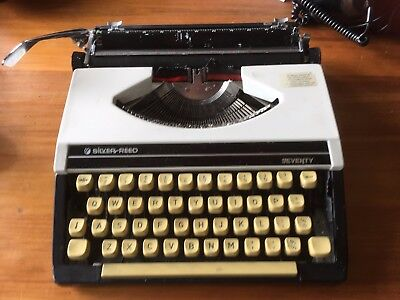 Vintage Retro Silver Reed Seventy Black & White Portable Typewriter in Case