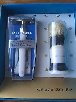 Vintage Gillette No2 Slim Twist Shaving Set With Brush And Spare Blades New Vgc