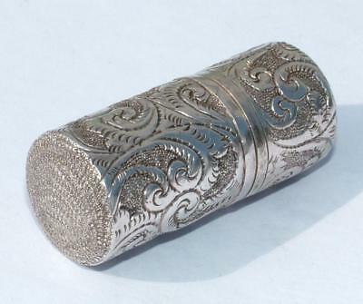 Antique Embossed Engraved Cylindrical Sterling Silver Vesta Case
