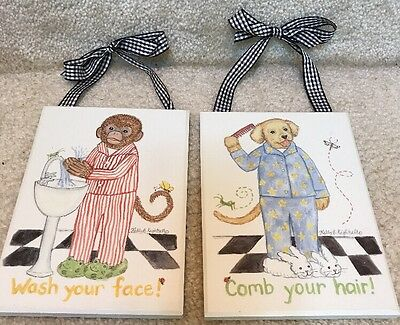 Pair of Nursery Prints Kelly B Rightsell -Plaques- Wash your face/Comb your hair