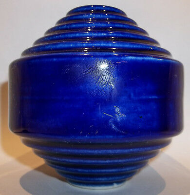 Antique Cobalt Blue Staircase Stoneware Pottery Lightning Rod Ball MINT COND.