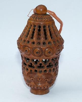 """Beautiful 3.35"""" Victorian Coquilla Nut Pomander Sewing Case / Free Standing"""